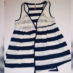 Rue21 Striped with crochet sleeveless cardigan